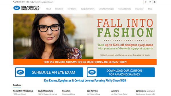 Philadelphia Eyeglass Labs website