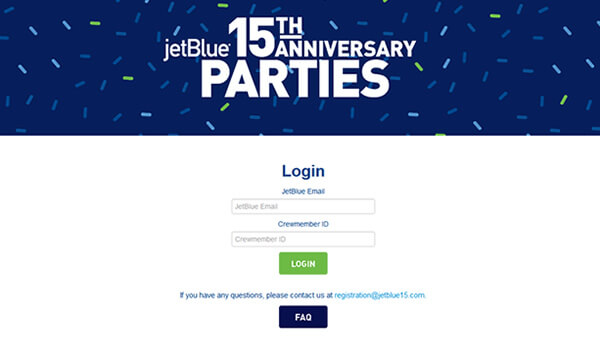 jetBlue event registration website